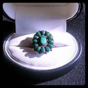 Vintage zuni silver & turquoise signed ring